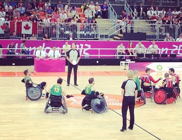 Wheelchair Rugby players on court